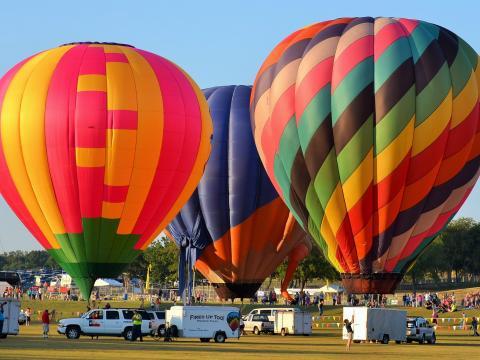 플래이노 열기구 축제에서 대기 중인 형형색색의 열기구들