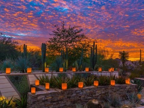 애리조나주 스코츠데일의 석양 속에 불을 밝힌 라스 노체스 데 라스 루미나리아스